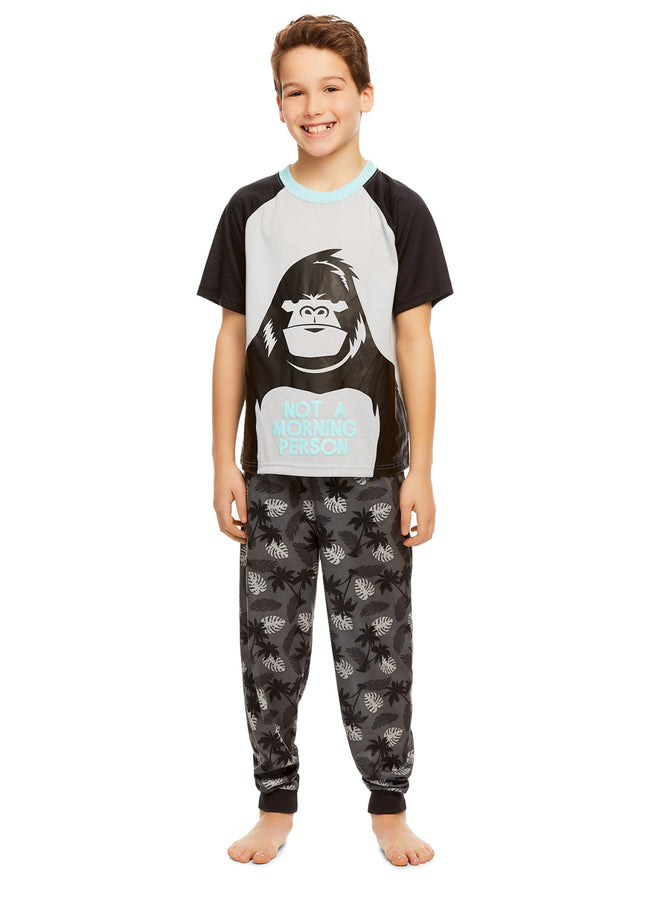 Boys Knit 3-Piece Pajamas Sleep Pant & Shorts Set (Gorilla)