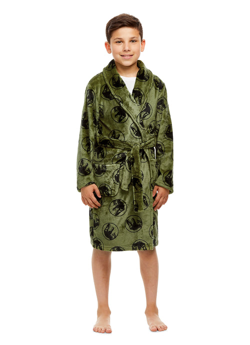 Jurassic World Boys Robe Green & Black Fleece Sleepwear