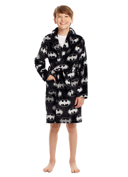 Batman Logo Boys Robe Black & Silver Fleece Sleepwear