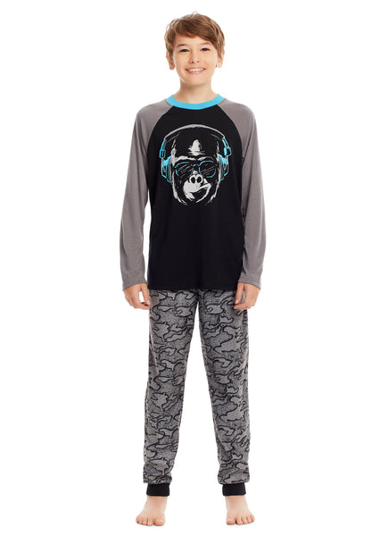 Boys 3 Piece Pajama Set | Long Sleeve Gorilla Puff Print Sleep Tee, Jogger Pants & Shorts