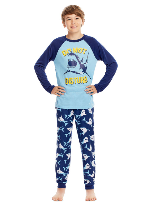 Long Sleeve Shark Puff Print Sleep Tee, Jogger Pants & Shorts