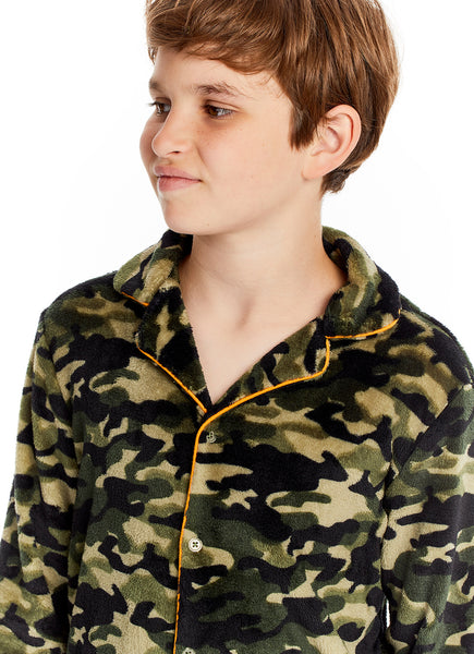 Boys 2 Piece Pajama Set | Long-Sleeve Button-Down Camo Top & PJ Pants