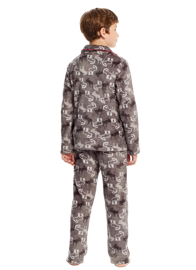 Boys 2 Piece Pajama Set | Long-Sleeve Button-Down Moose Top & PJ Pants