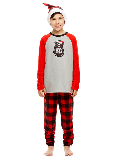 Boys 2 Piece Pajama & Hat Set | Long-Sleeve Bear Top & Jogger PJ Pants