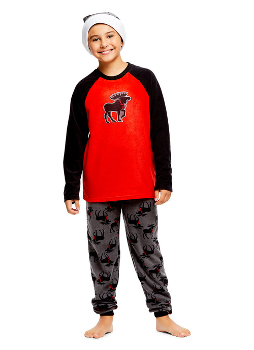 Boys 2 Piece Pajama & Hat Set | Long-Sleeve Moose Top & Jogger PJ Pants