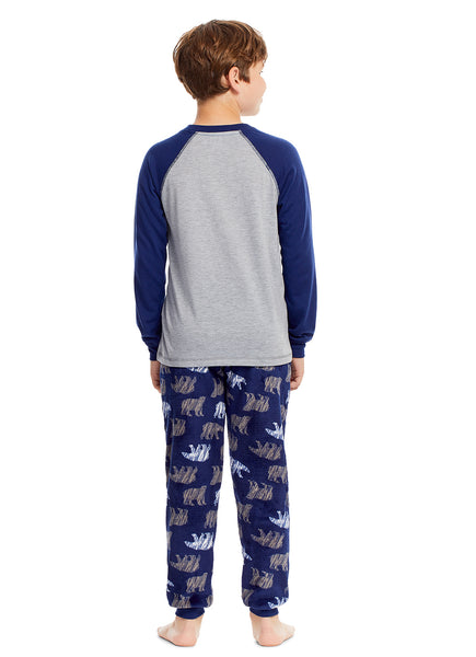 Boys 2 Piece Pajama Set | Long Sleeve Bear Plush Applique Sleep Shirt & Jogger Pants