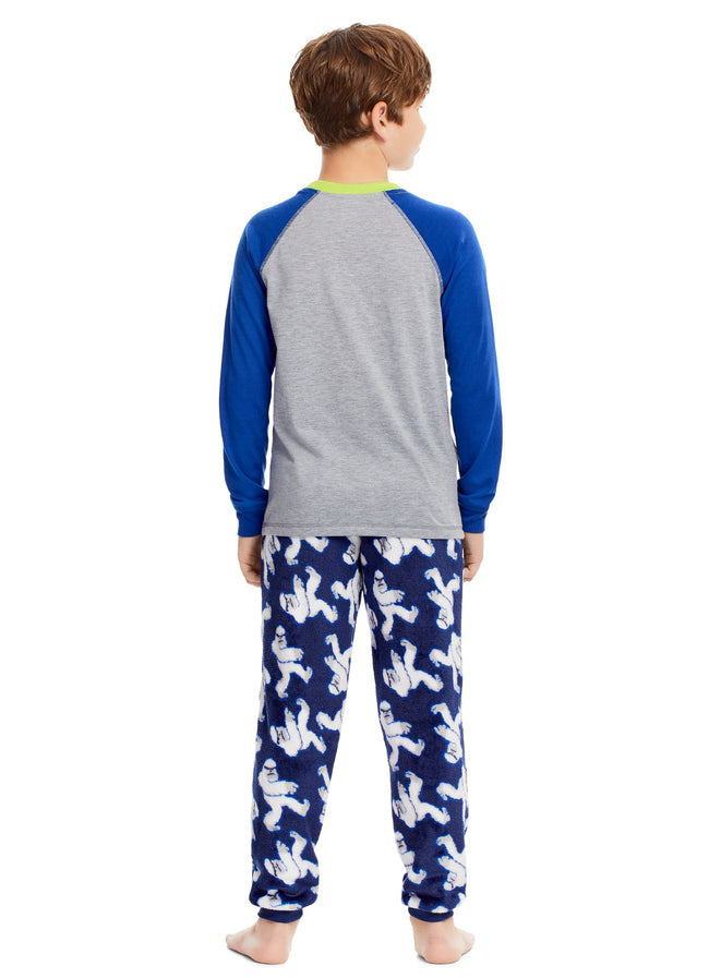 Boys 2 Piece Pajama Set | Long Sleeve Yeti Plush Applique Sleep Shirt & Jogger Pants