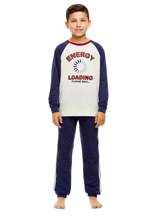 Boys 2 Piece Pajama Set | Long Sleeve Energy Print Sleep Tee & Jogger Pants