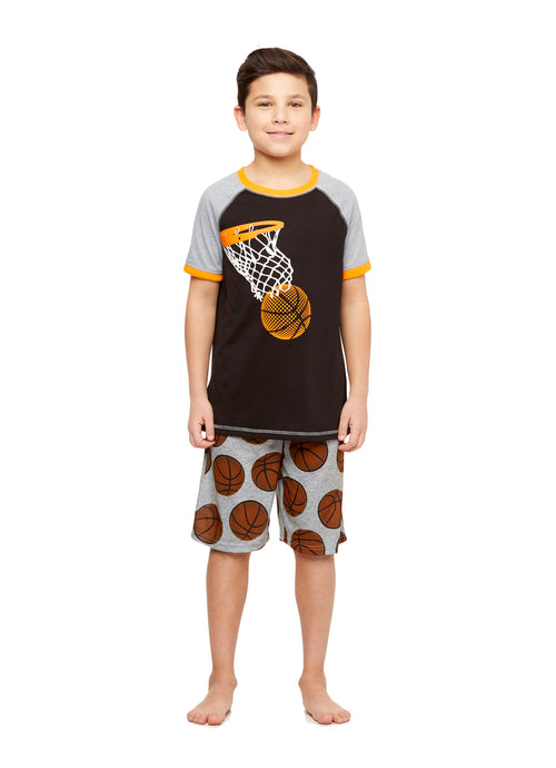 Basketball Boys 2-Piece Knit Pajamas Shorts Set