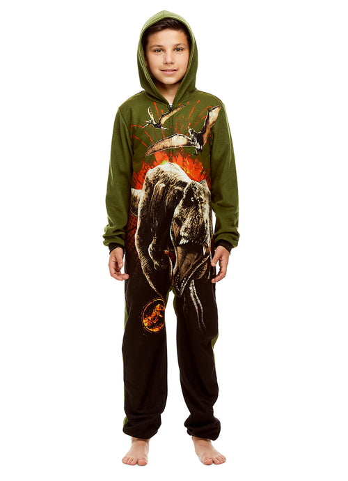 Jurassic World Boys' Novelty Sleepers | Zippered Hooded Onesie Pajamas