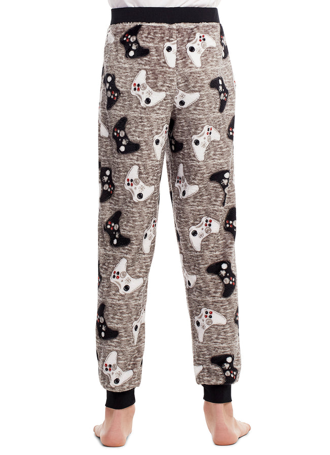 Boys Pajama Bottoms | Cozy Flannel Fleece Gaming Jogger Style PJ Pants