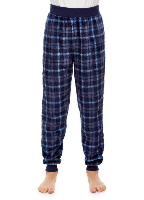 Boys Pajama Bottoms | Cozy Flannel Fleece Plaid Jogger Style PJ Pants