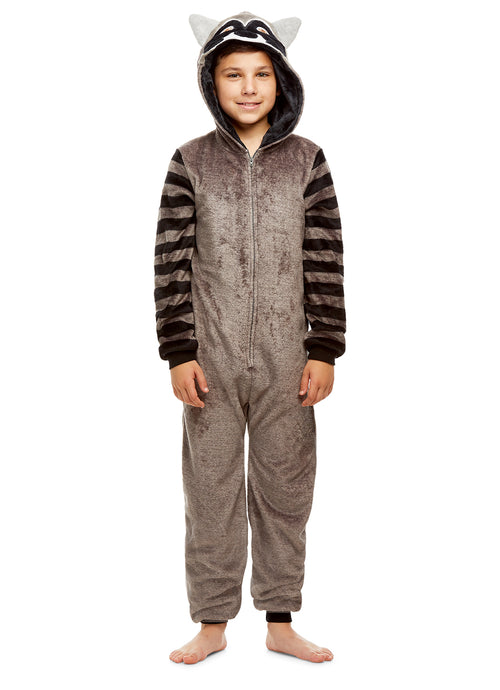 Boys Raccoon Pajamas | Plush Zippered Kids Animal Onesie Blanket Sleeper
