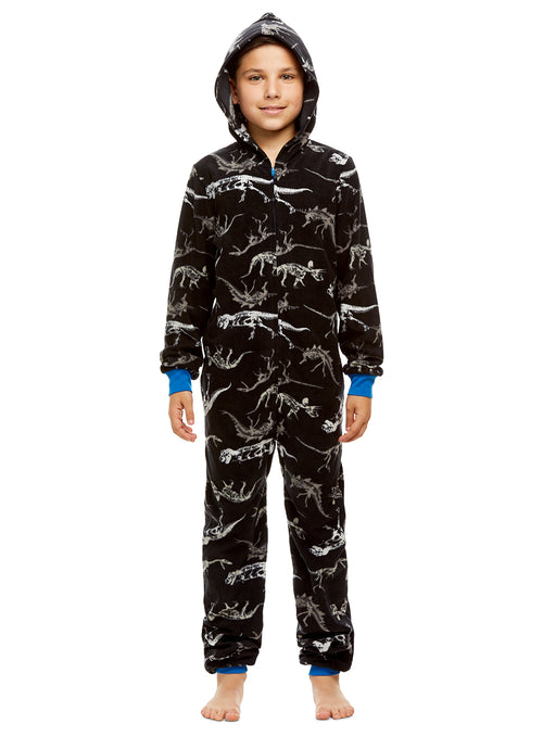 Boys Dinosaurs Pajamas | Plush Zippered Kids Onesie Blanket Sleeper