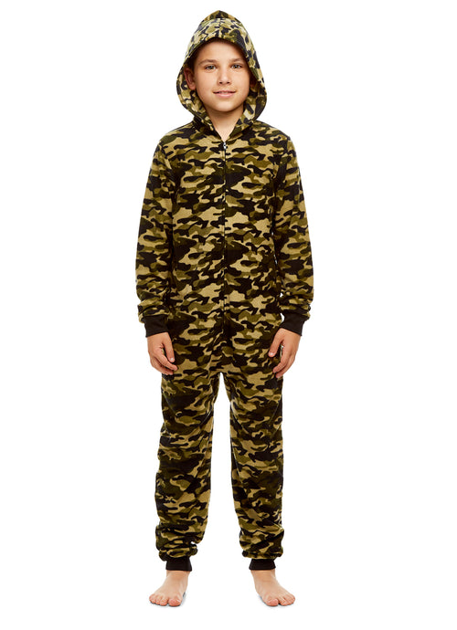 Boys Camo Pajamas | Plush Zippered Kids Onesie Blanket Sleeper