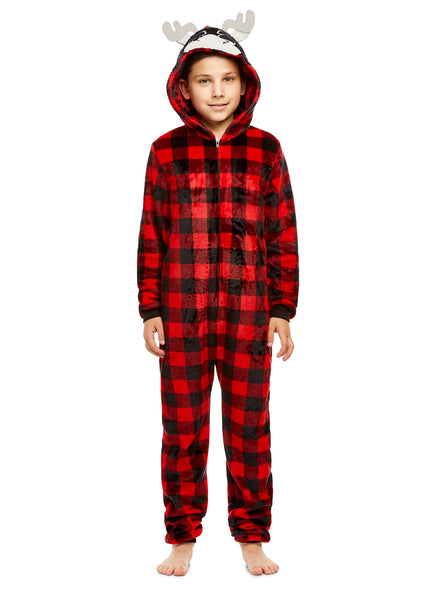 Boys Moose Pajamas | Plush Zippered Kids Animal Onesie Blanket Sleeper