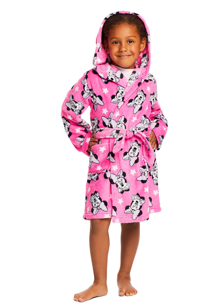 Girls Disney Minnie Mouse Sleep Robe | Girls Fleece Hooded Bathrobe