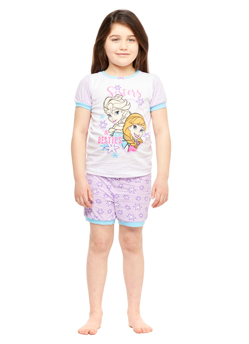 Girls 2-Piece Cotton Pajama Set, Short-Sleeve Top and Shorts, Frozen