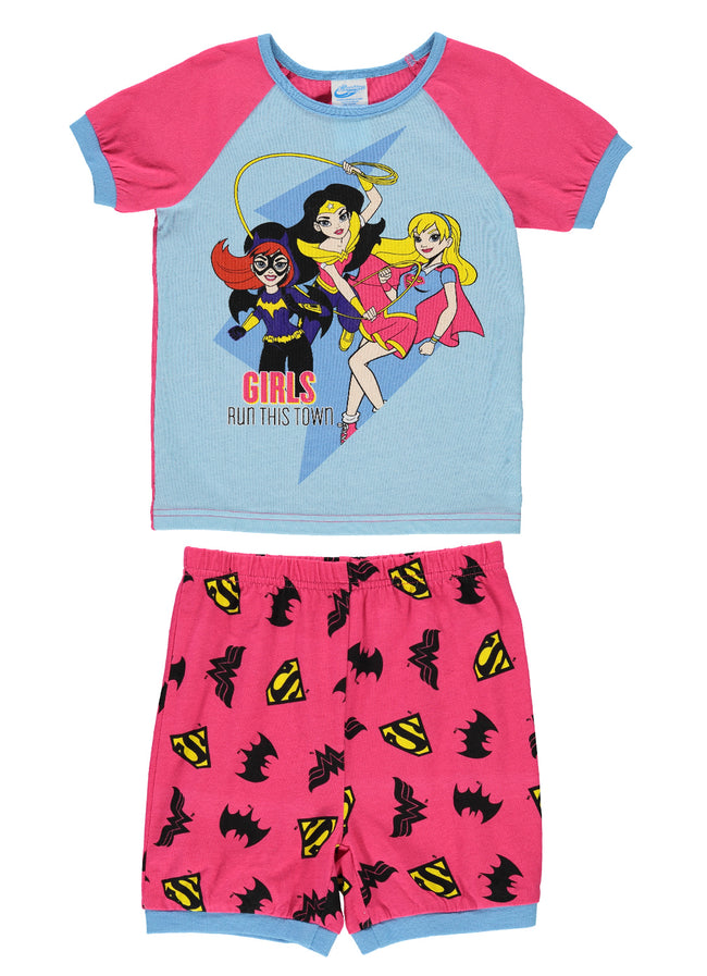 Girls 2-Piece Cotton Pajama Set (wonder Woman, Batgirl, Super Girl)