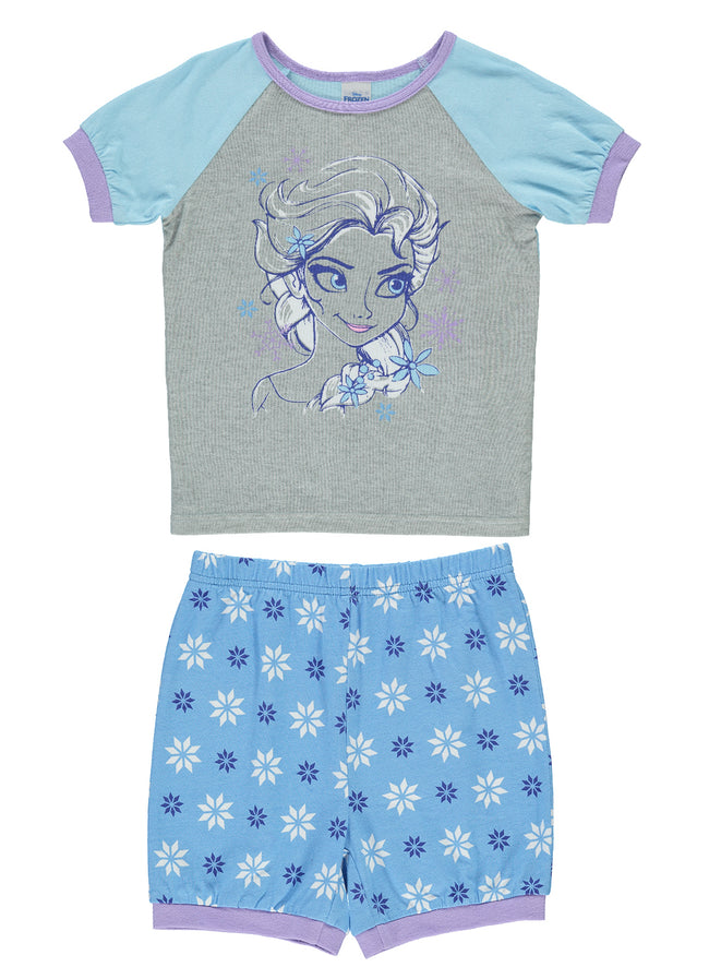 Girls 2-Piece Cotton Pajama Set | Short-Sleeve Top and Shorts (Disney Frozen)