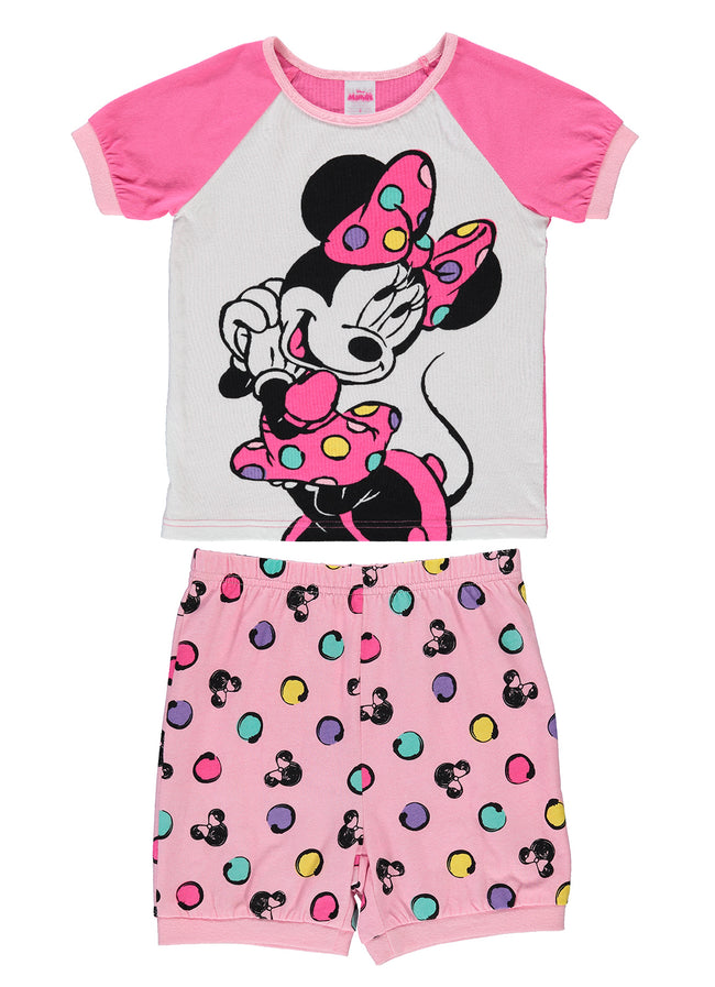 Disney Minnie Girls 2-Piece Cotton Pajama Set | Short-Sleeve Top and Shorts