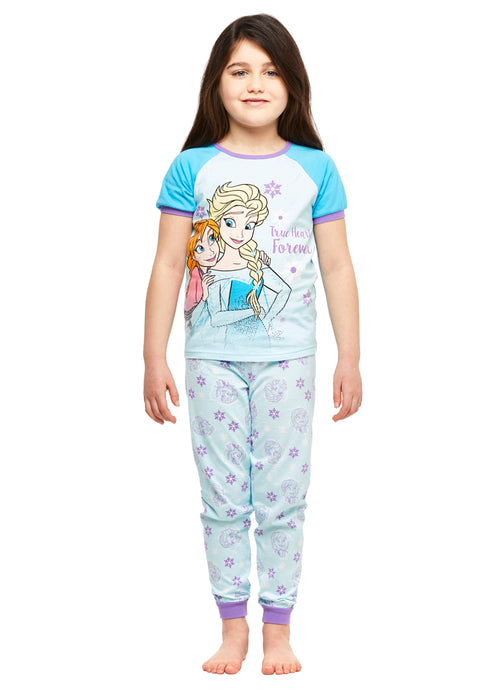 Girls 2-Piece Cotton Pajama Set, Short-Sleeve Top and Jogger Pants, Frozen