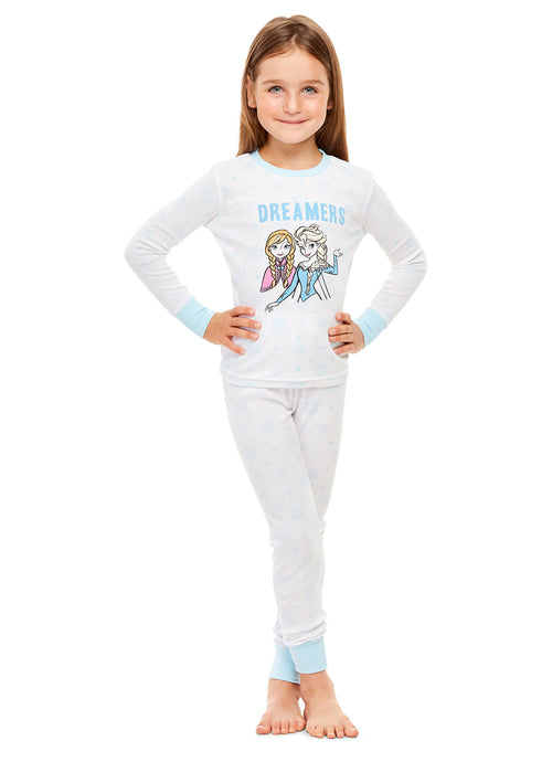 Disney Frozen Girls Pajamas | Cotton PJs For Kids | Cute White Sleepwear