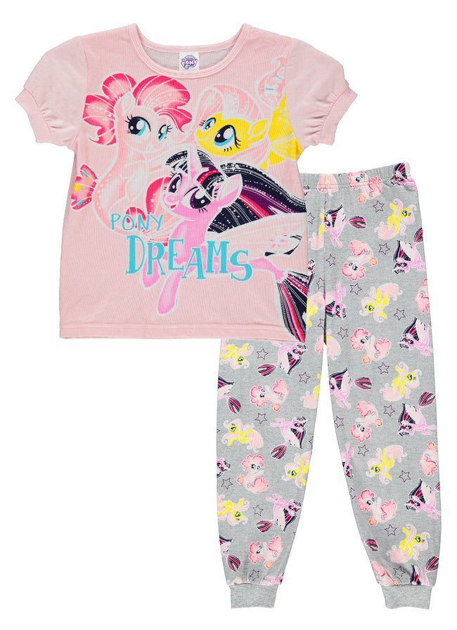My Little Pony Girls 2-Piece Cotton Pajama Set | Short-Sleeve Top & Jogger Pants