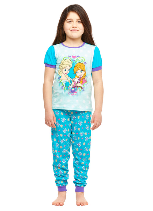 Girls 2-Piece Cotton Pajama Set, Short-Sleeve Top and Jogger Pants, Frozen, by Jellifish Kids