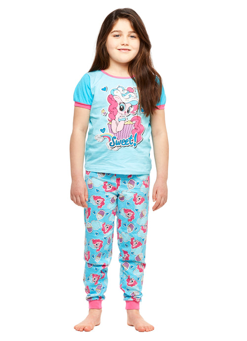 Girls 2-Piece Cotton Pajama Set, Short-Sleeve Top and Jogger Pants, My Little Pony, by Jellifish Kids