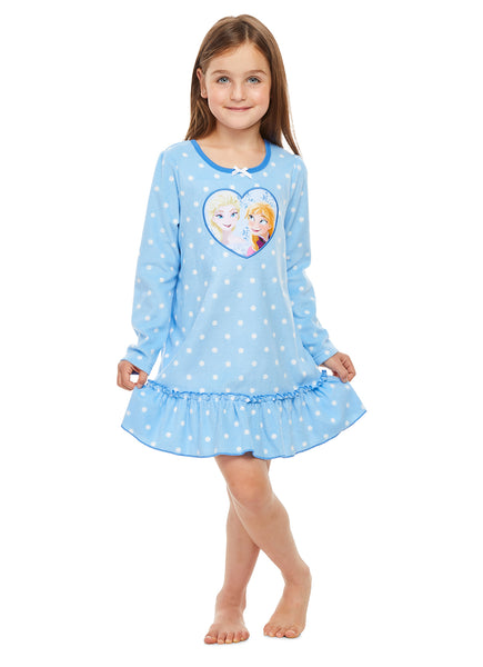 Disney Frozen Nightgown For Girls | Soft & Warm Sleepwear | Blue PJ Gown