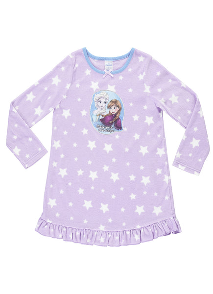 Disney Frozen Nightgown For Girls | Soft & Warm Sleepwear | Lilac PJ Gown