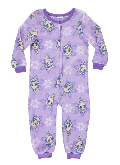 Disney Frozen Girls Sleeper Onesie | Fleece Pajamas for Kids