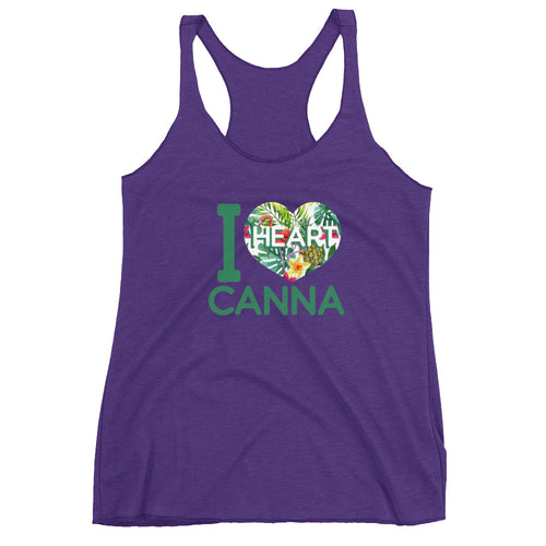 Flamingo and Pineapple Floral IHC Logo Women's Racerback Tank