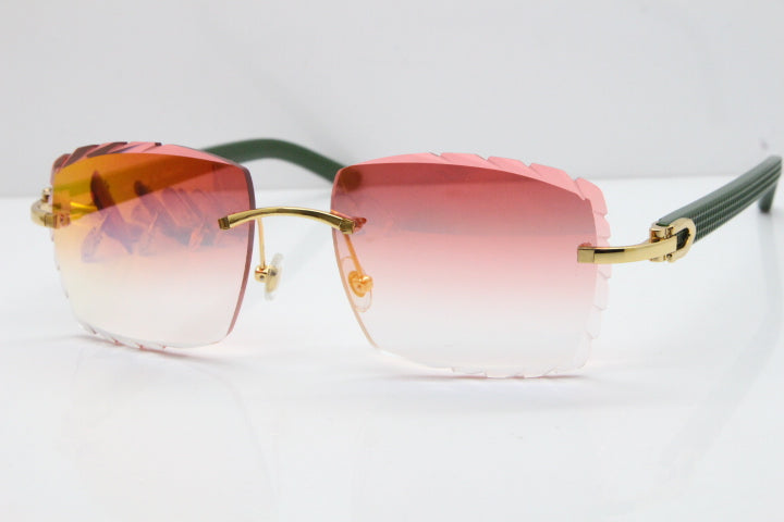 Cartier Smooth Aztec Olive Green | Red Designer Lens Buffalo C Décor Sunglasses