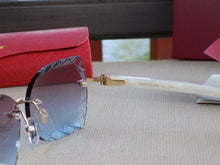 Cartier Smooth Marble Plank Violet Lens Buffalo Horn Sunglasses