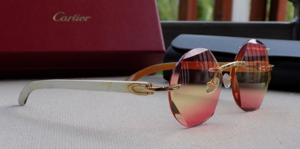 Cartier Smooth Amber Lens Natural Horn Buffalo Sunglasses