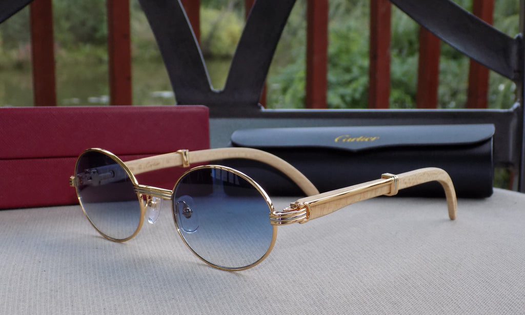 Cartier Smooth Tulip Whitewood Blue Lens Buffalo C Décor Sunglasses