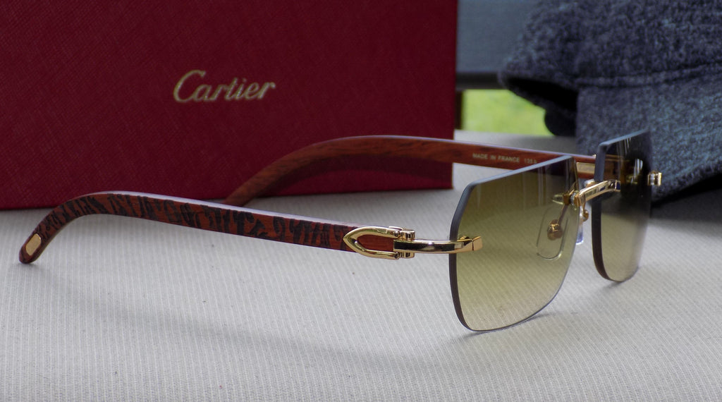 Cartier Smooth Rosewood Carved Pool Lens Buffalo C Décor Sunglasses