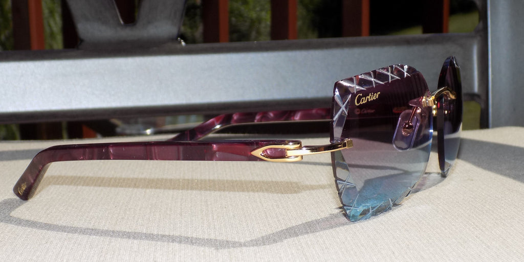 🍇 Limited Custom Cartier Smooth Violet Plank Buffalo Horn Sunglasses