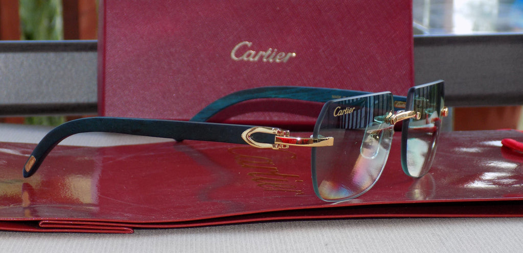 Authentic Cartier Smooth Greenwood Hunter Pool SP Buffalo C Décor Sunglasses