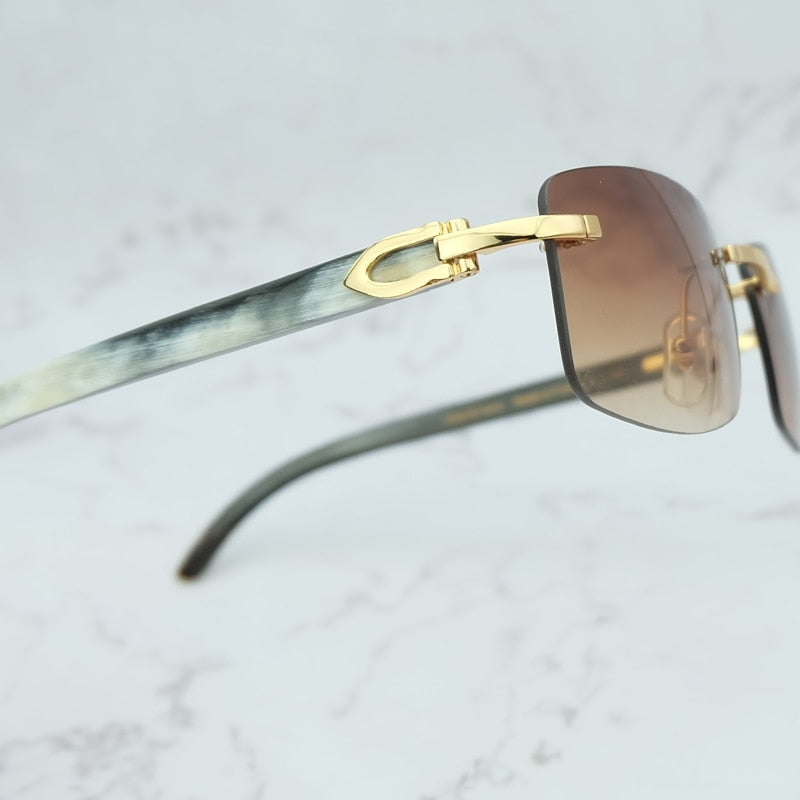 Limited Custom Cartier Smooth Molted Cream Buffalo Horn Sunglasses