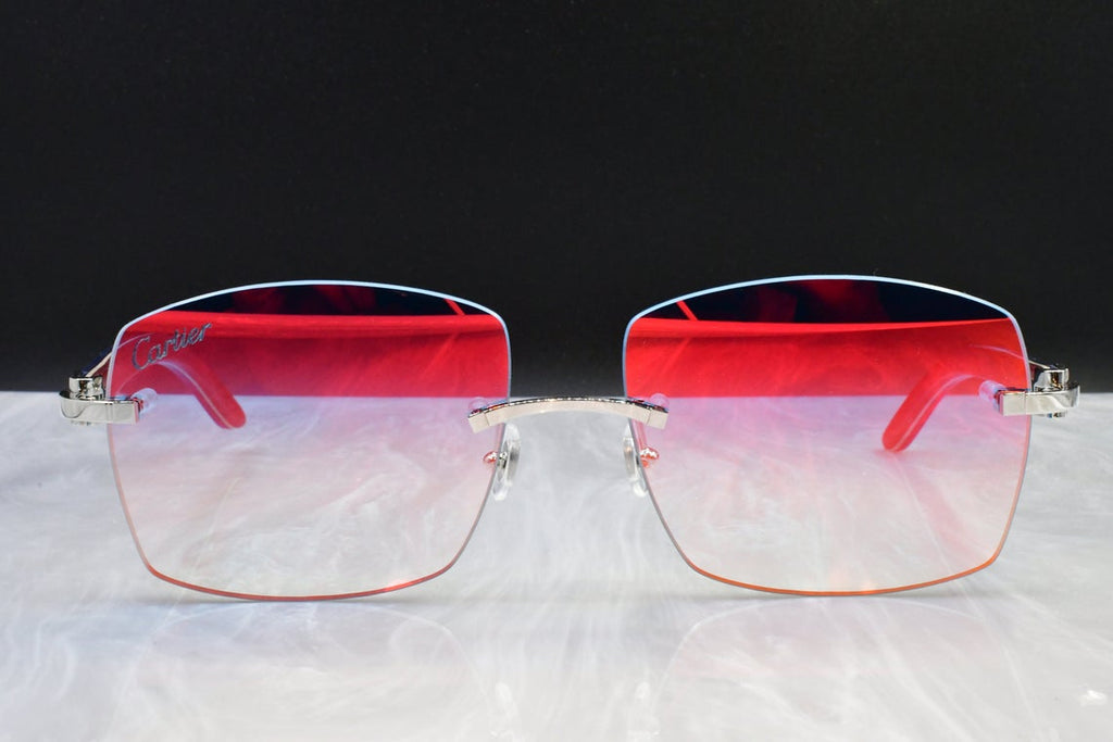 Authentic Cartier rimless vintage wood C decor brand new with box Blue Blood Woods