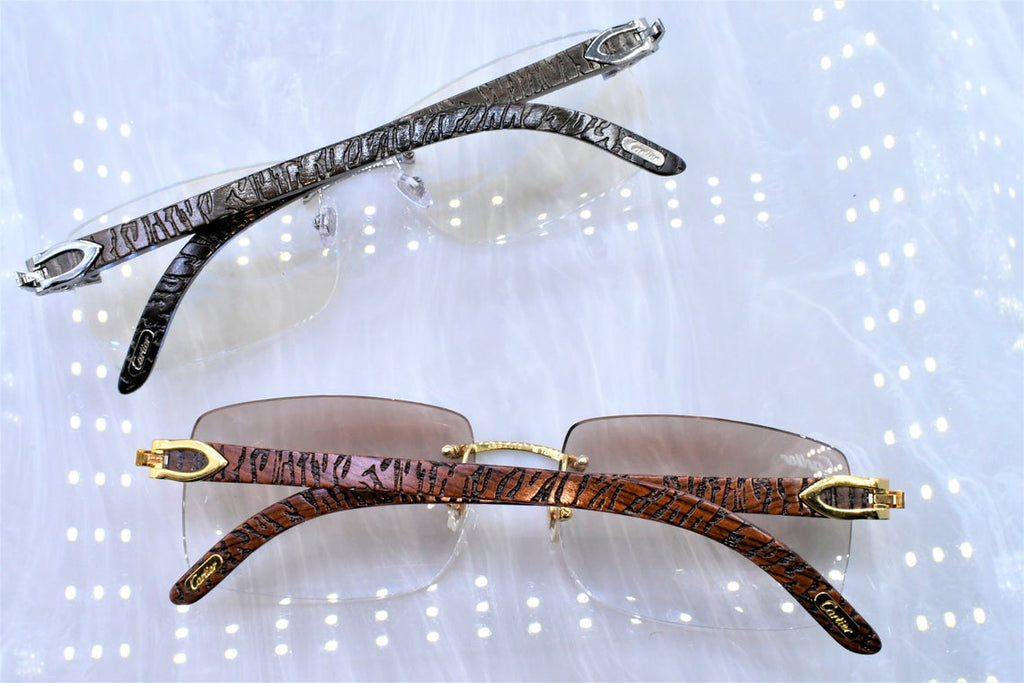 Authentic Cartier rimless vintage wood C decor brand new with box Bubinga gold Tiger Woods Joe Exotic