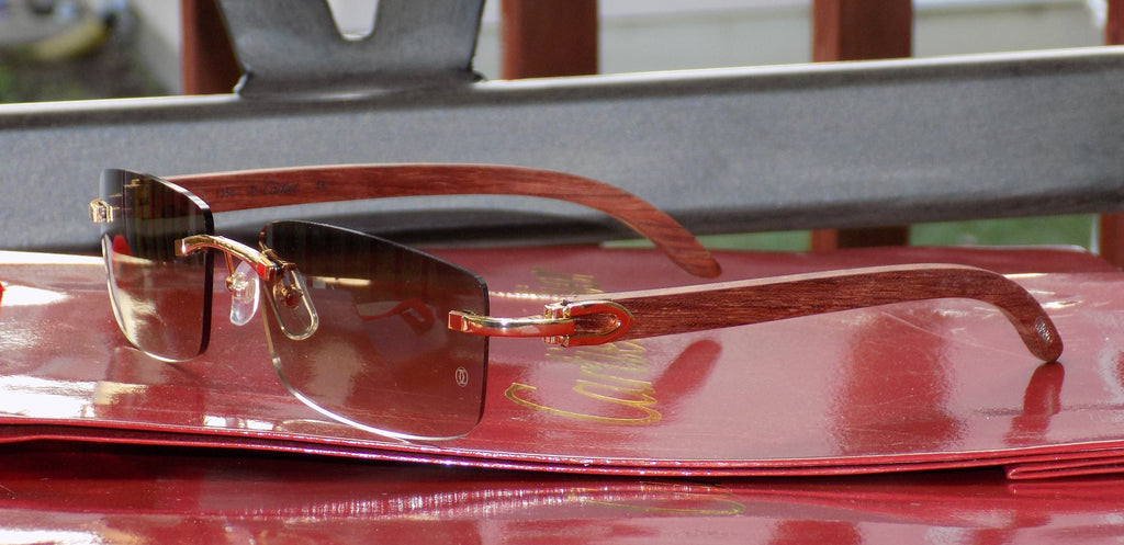 """Sale"" Cartier Smooth Cafe Lens Straight Rosewood Buffalo Sunglasses"