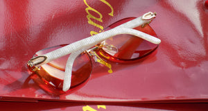 Authentic Cartier Smooth Aztec Marble Cream | Amber Designer Lens Buffalo C Décor Sunglasses