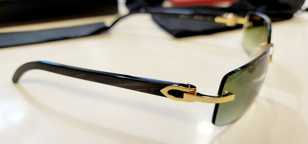 Cartier C Decor Sunglasses Black Buffalo Horn 18k Gold / Money Green 🤑 Rimless
