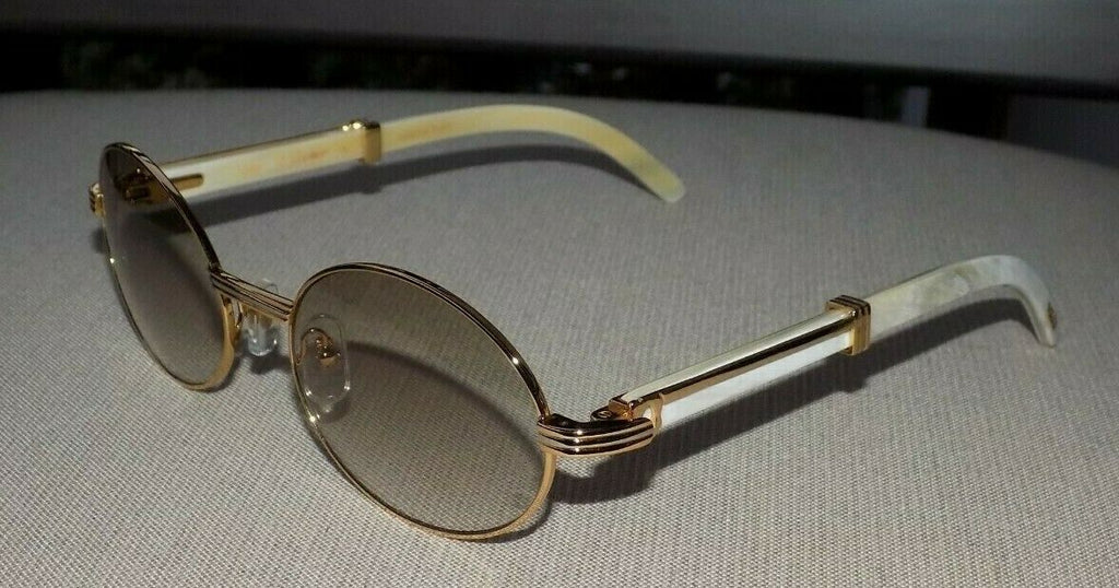 Cartier Smooth Round White Horn Buffalo C Décor Sunglasses SHABOWHITA