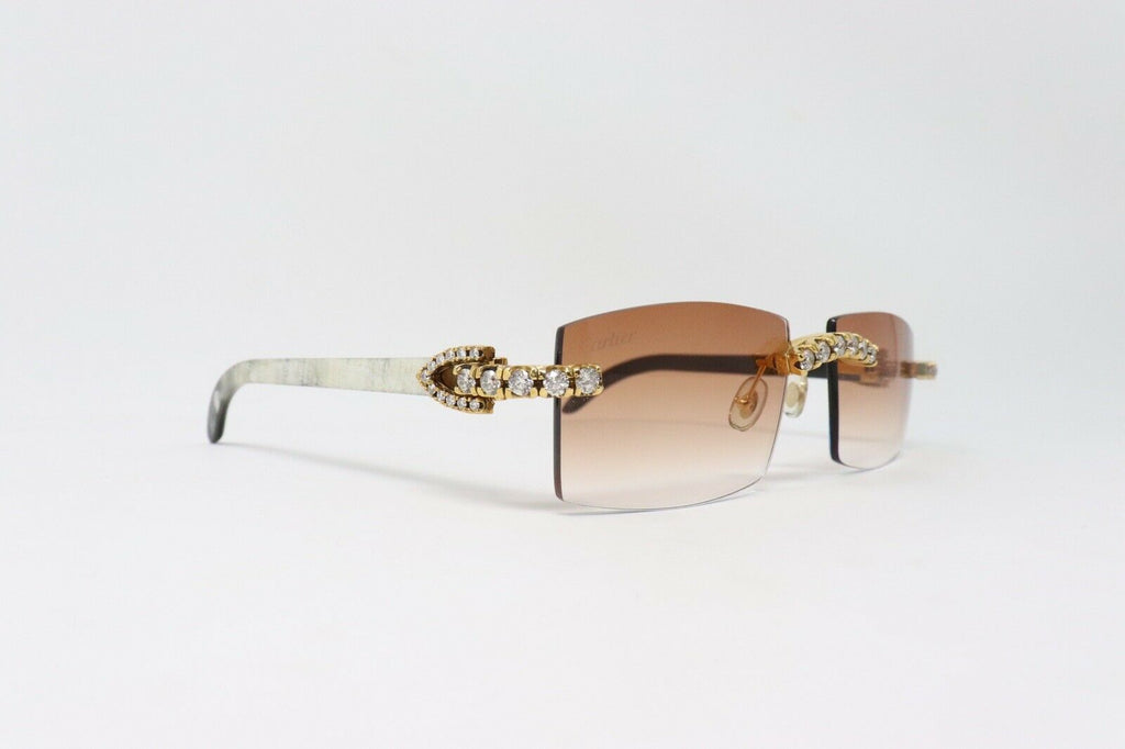 Cartier Smooth Black Buffalo Horn Clear C Décor Sunglasses