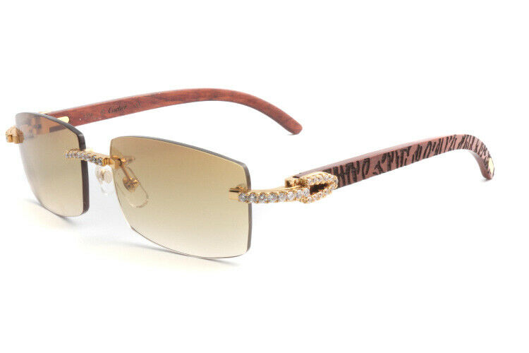 Limited Cartier Smooth Acrylic Carved Rosewood Buffalo Sunglasses Shabowhita